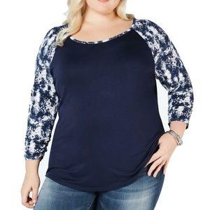 Style & Co Plus Size Printed Raglan Sleeve Blouse